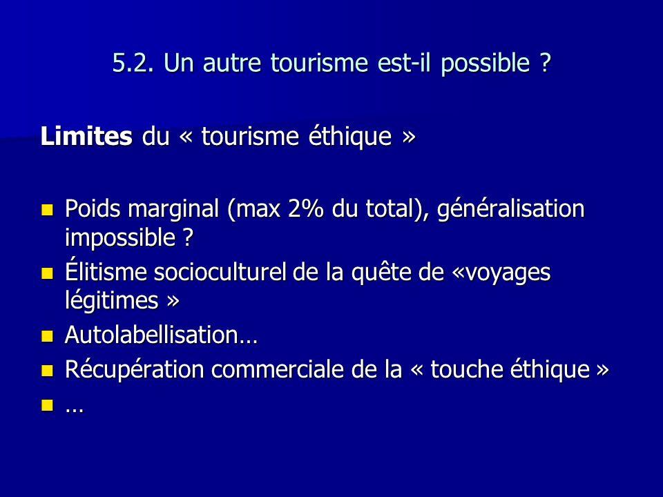5.2. Un autre tourisme est-il possible ? Limites du « tourisme éthique » Poids marginal (max 2% du total), généralisation impossible ? Poids marginal