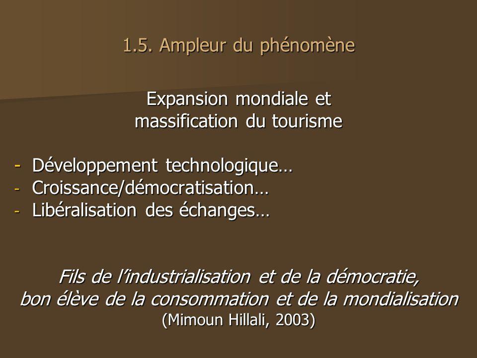 1.5. Ampleur du phénomène Expansion mondiale et massification du tourisme -Développement technologique… - Croissance/démocratisation… - Libéralisation
