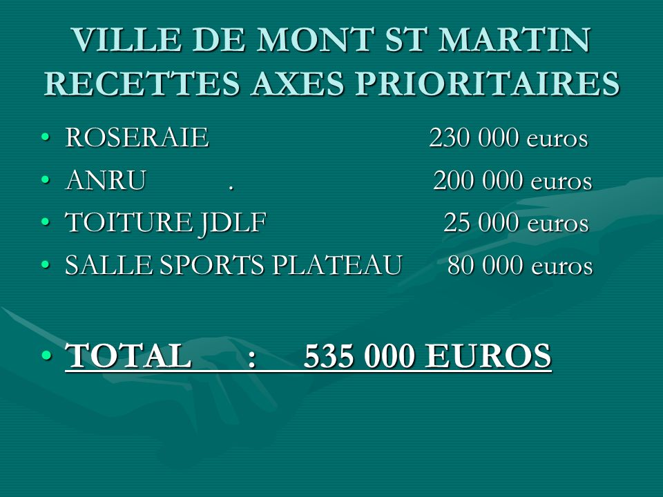 VILLE DE MONT ST MARTIN RECETTES AXES PRIORITAIRES ROSERAIE 230 000 eurosROSERAIE 230 000 euros ANRU.