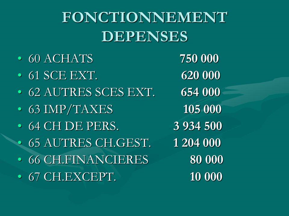 FONCTIONNEMENT DEPENSES 60 ACHATS 750 00060 ACHATS 750 000 61 SCE EXT.