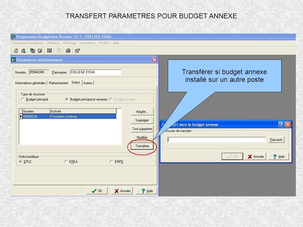 TRANSFERT PARAMETRES POUR BUDGET ANNEXE Transférer si budget annexe installé sur un autre poste