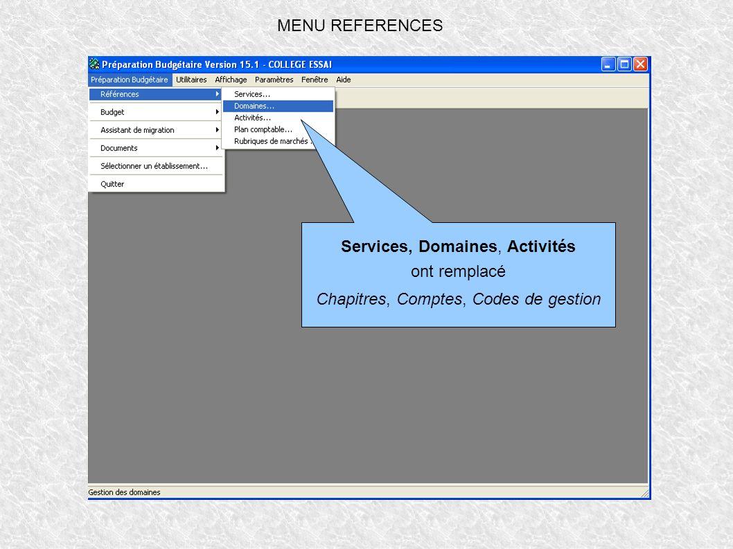 MENU REFERENCES Services, Domaines, Activités ont remplacé Chapitres, Comptes, Codes de gestion