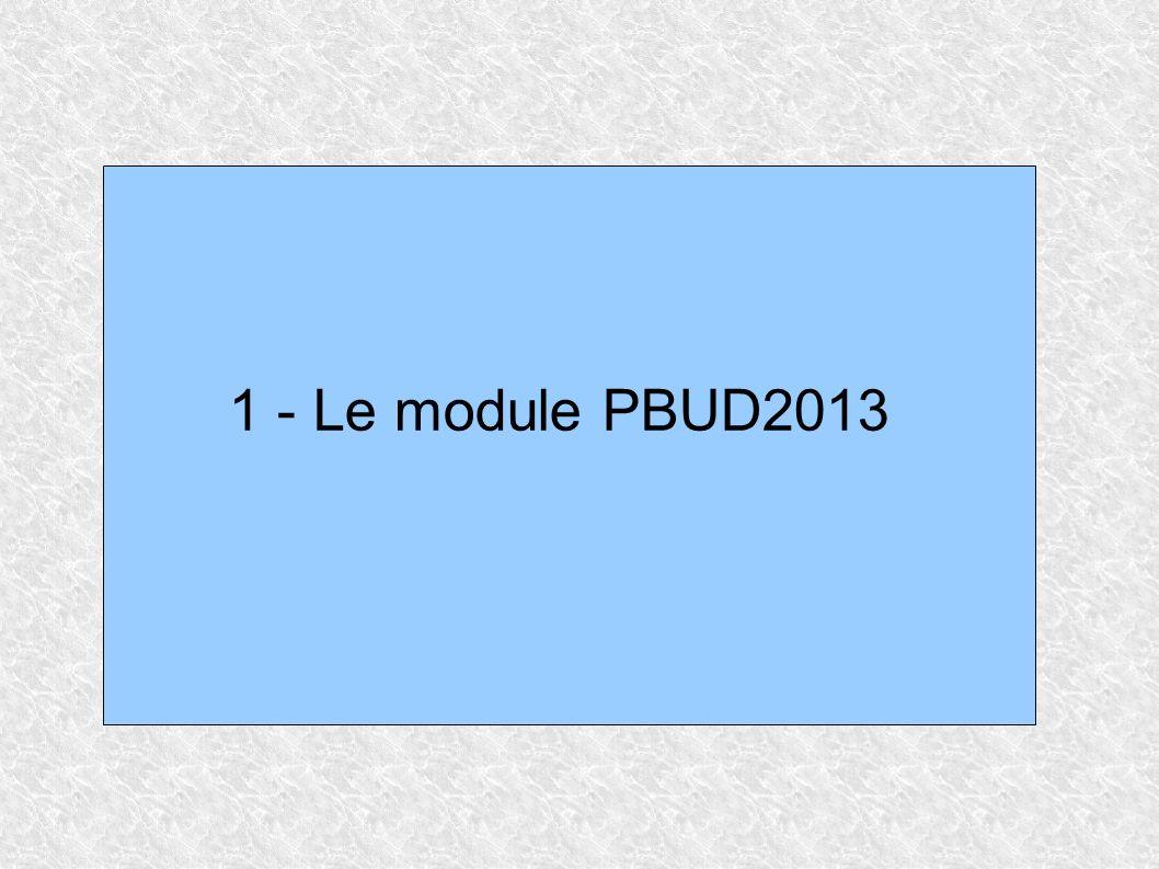 Changements majeurs pour PBUD2013 Module Obligatoire: aucun budget ne pourra désormais être créé en CBUD.