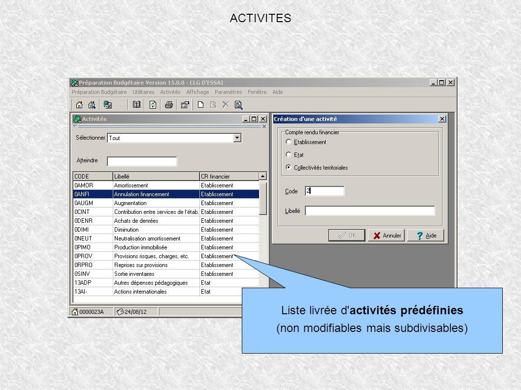 ACTIVITES Liste livrée d'activités prédéfinies (non modifiables mais subdivisables)