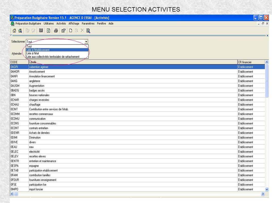 MENU SELECTION ACTIVITES