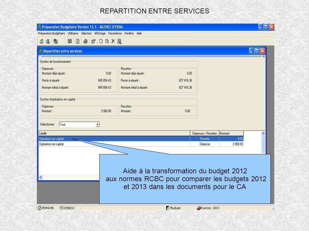 REPARTITION ENTRE SERVICES Aide à la transformation du budget 2012 aux normes RCBC pour comparer les budgets 2012 et 2013 dans les documents pour le C