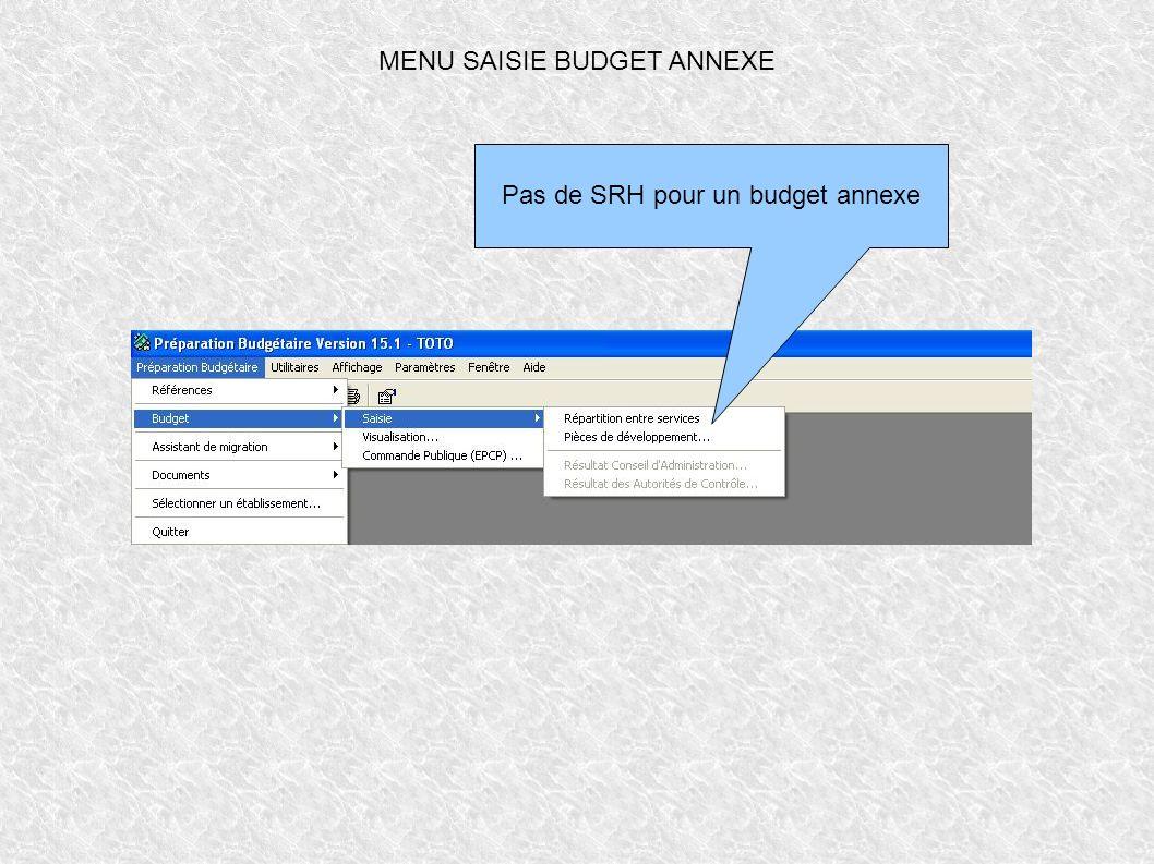 MENU SAISIE BUDGET ANNEXE Pas de SRH pour un budget annexe