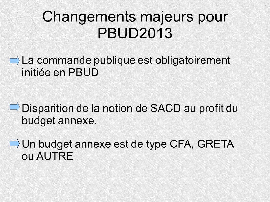 Changements majeurs pour PBUD2013 La commande publique est obligatoirement initiée en PBUD Disparition de la notion de SACD au profit du budget annexe