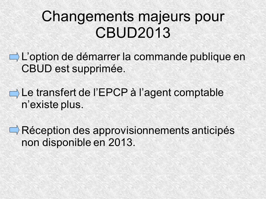 Changements majeurs pour CBUD2013 Loption de démarrer la commande publique en CBUD est supprimée. Le transfert de lEPCP à lagent comptable nexiste plu