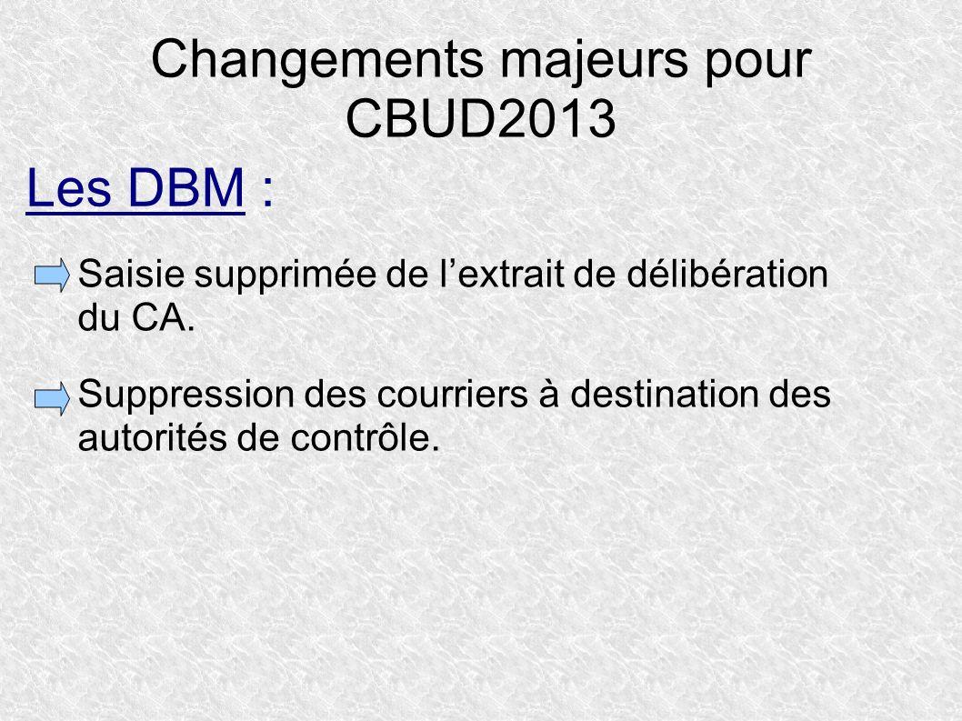 Changements majeurs pour CBUD2013 Saisie supprimée de lextrait de délibération du CA. Suppression des courriers à destination des autorités de contrôl