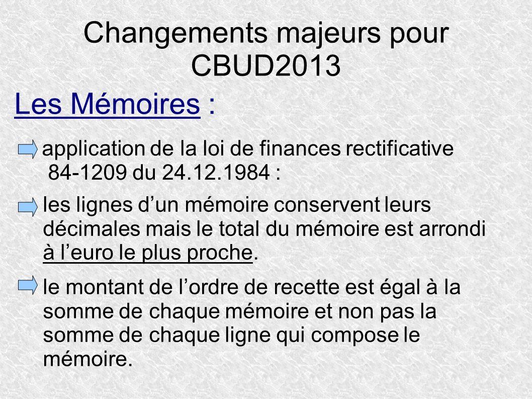 Changements majeurs pour CBUD2013 application de la loi de finances rectificative 84-1209 du 24.12.1984 : les lignes dun mémoire conservent leurs déci