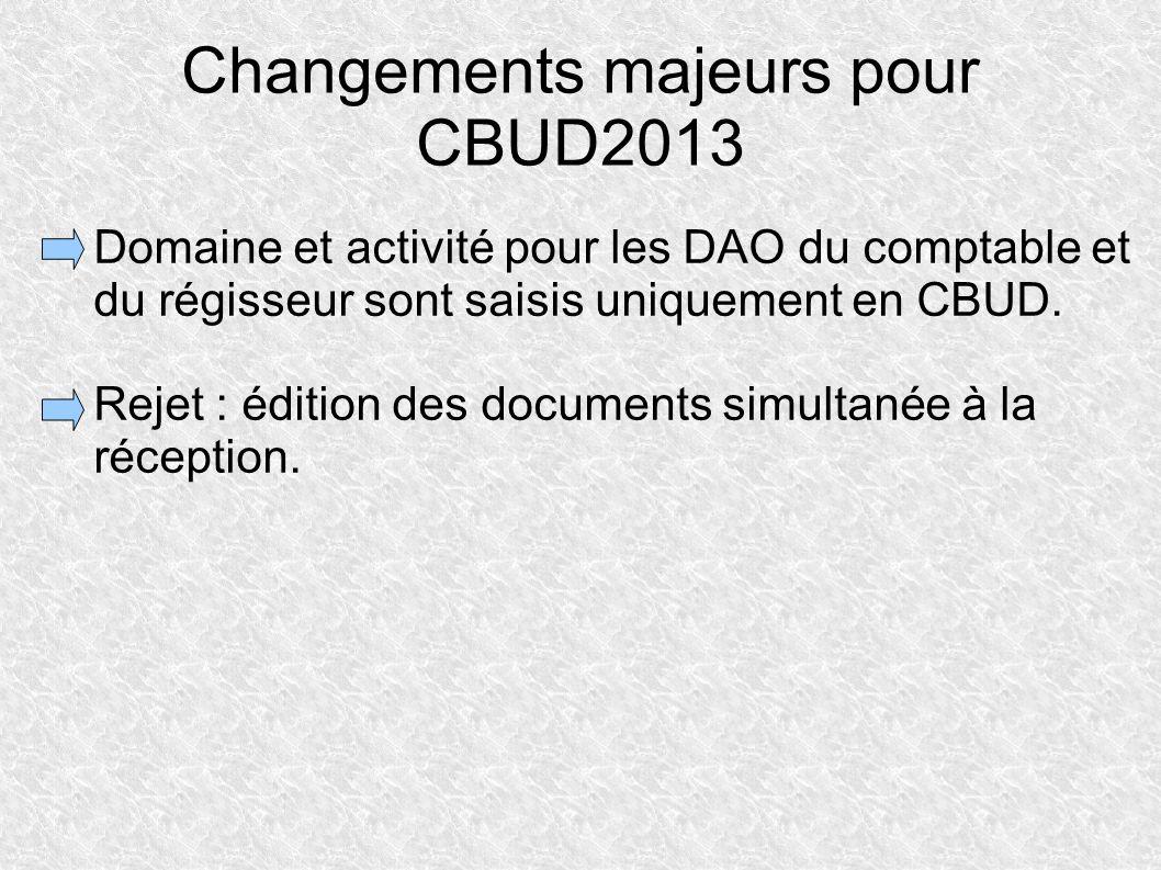 Changements majeurs pour CBUD2013 Domaine et activité pour les DAO du comptable et du régisseur sont saisis uniquement en CBUD. Rejet : édition des do