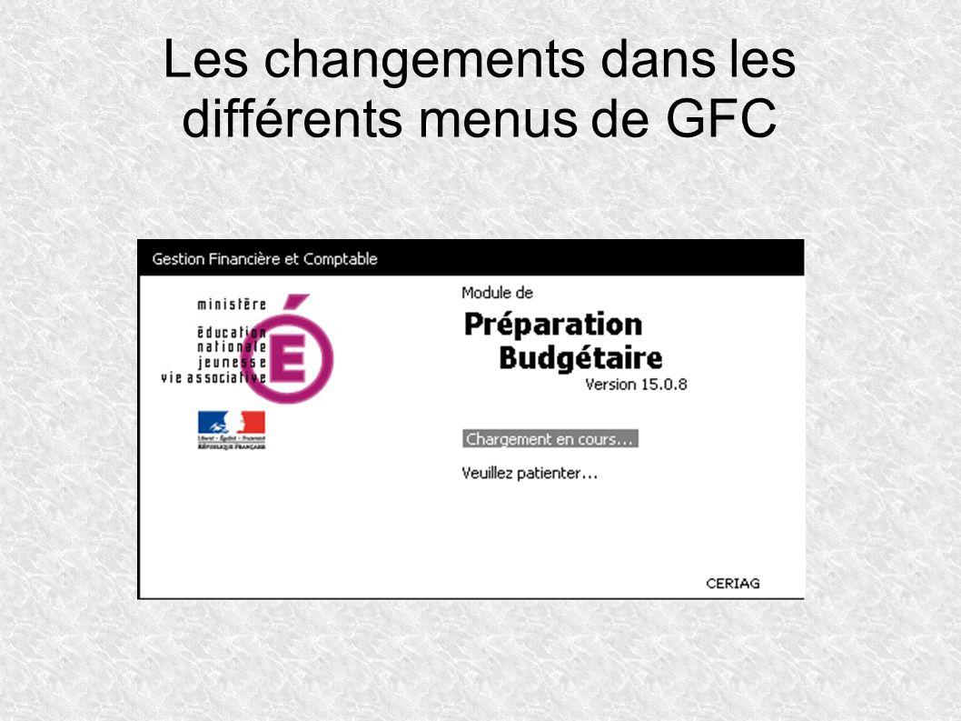 Changements par rapport à GFC 2012 en recettes Le service Opération en capital ne donne plus accès aux comptes de la classe 3, uniquement classes 1 et 2.