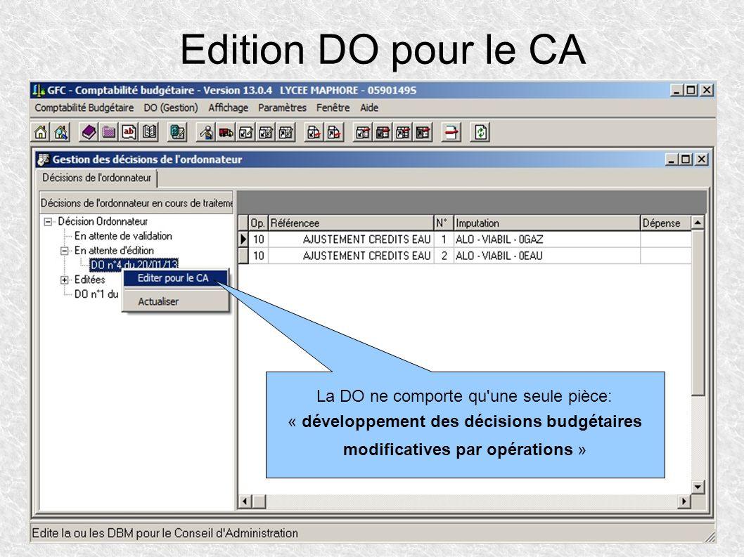Edition DO pour le CA La DO ne comporte qu'une seule pièce: « développement des décisions budgétaires modificatives par opérations »