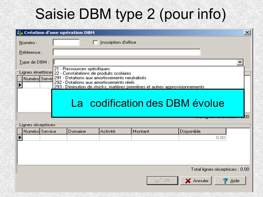 Saisie DBM type 2 (pour info) Lacodification des DBM évolue