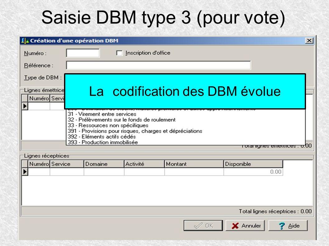 Saisie DBM type 3 (pour vote) Lacodification des DBM évolue