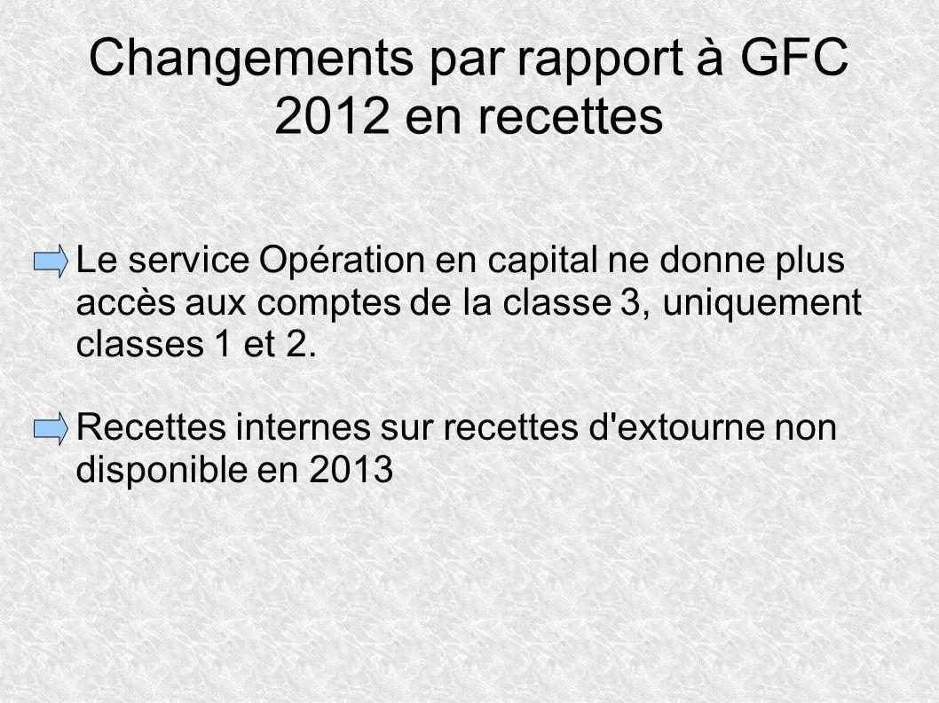 Changements par rapport à GFC 2012 en recettes Le service Opération en capital ne donne plus accès aux comptes de la classe 3, uniquement classes 1 et