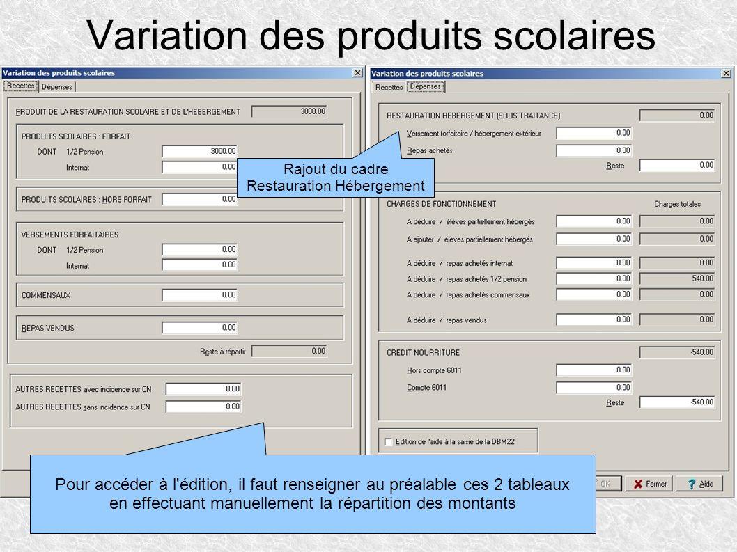 Variation des produits scolaires Pour accéder à l'édition, il faut renseigner au préalable ces 2 tableaux en effectuant manuellement la répartition de