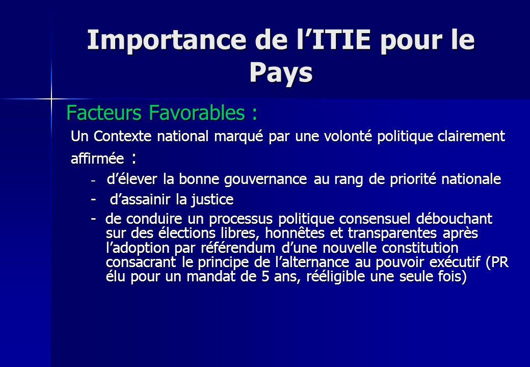 Importance de lITIE pour le Pays Facteurs Favorables : Un Contexte national marqué par une volonté politique clairement Un Contexte national marqué pa