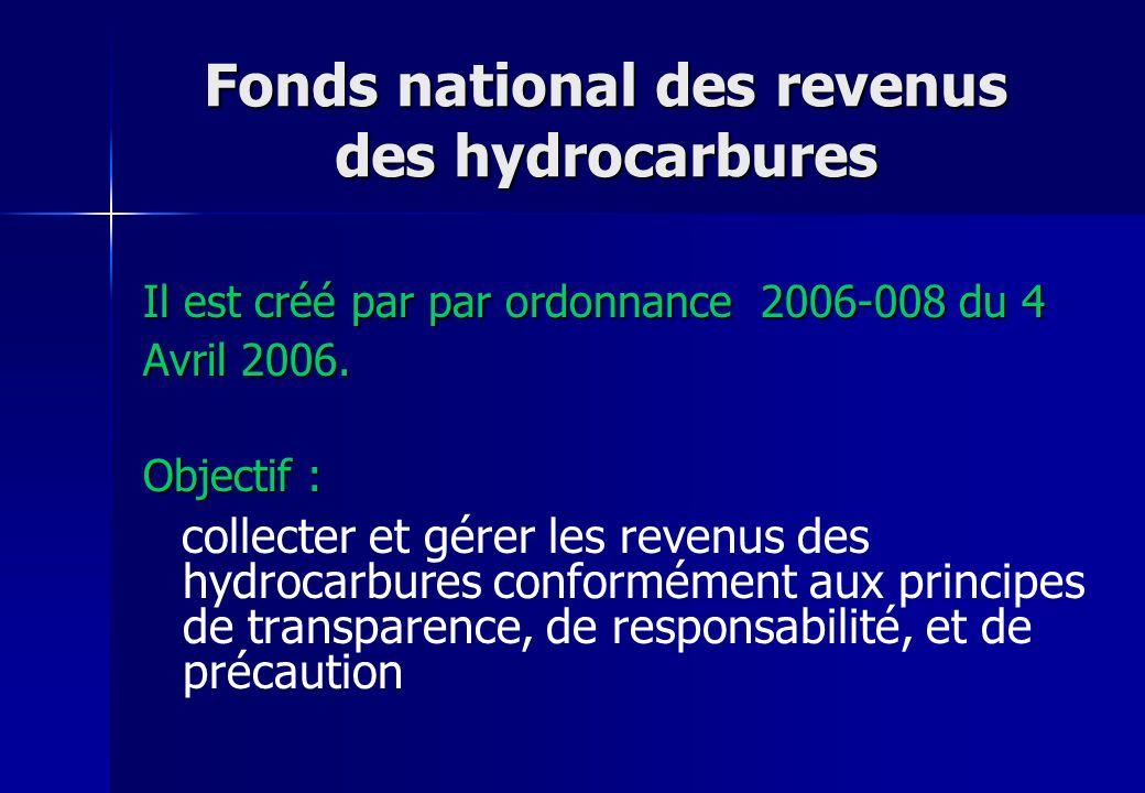 Fonds national des revenus des hydrocarbures Il est créé par par ordonnance 2006-008 du 4 Avril 2006. Objectif : collecter et gérer les revenus des hy