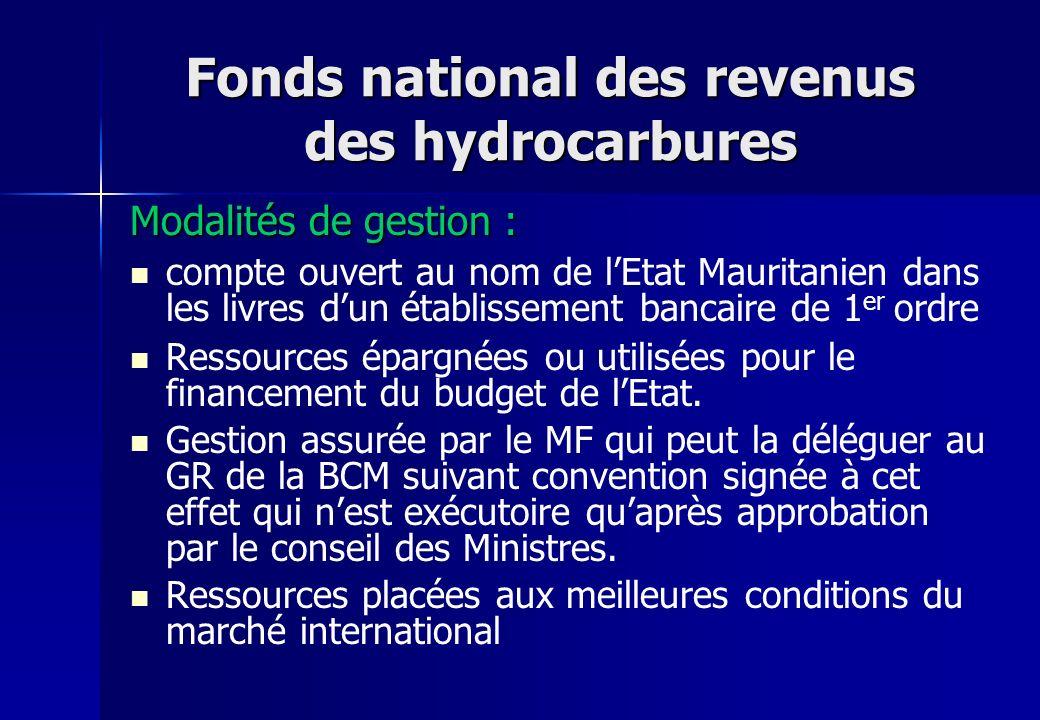 Fonds national des revenus des hydrocarbures Modalités de gestion : compte ouvert au nom de lEtat Mauritanien dans les livres dun établissement bancai