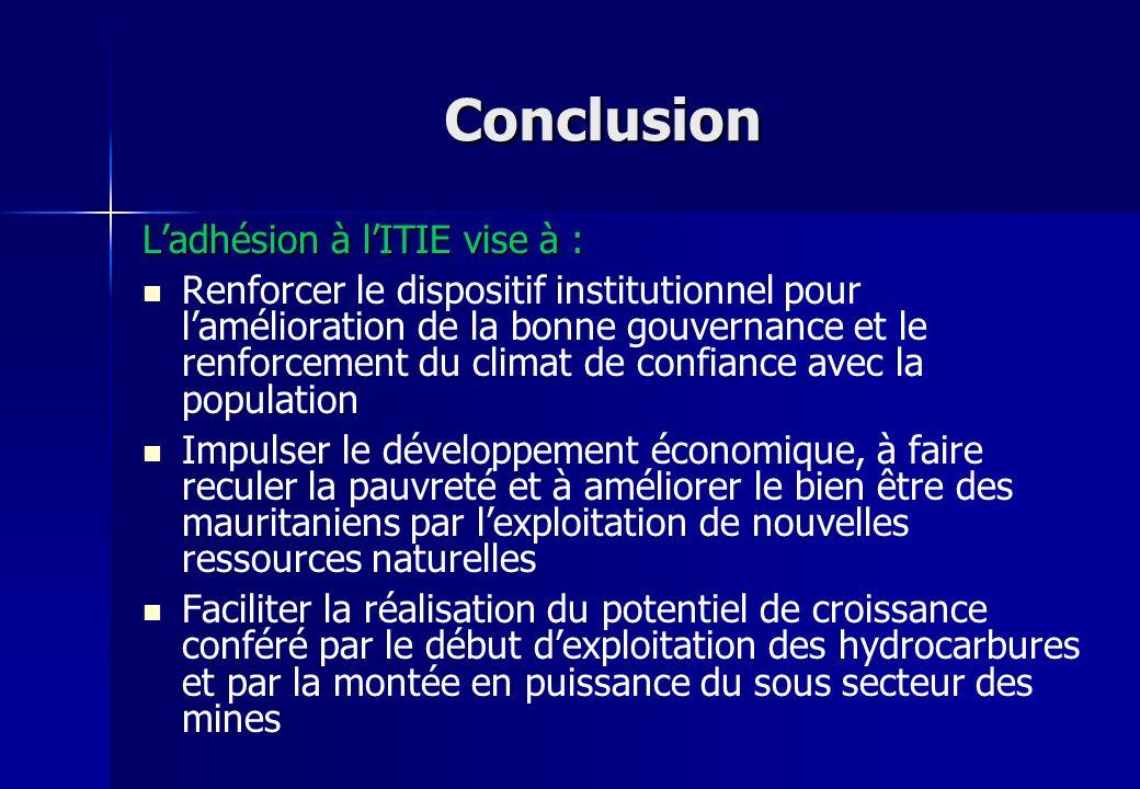 Conclusion Ladhésion à lITIE vise à : Renforcer le dispositif institutionnel pour lamélioration de la bonne gouvernance et le renforcement du climat d