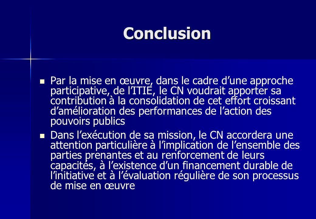 Conclusion Par la mise en œuvre, dans le cadre dune approche participative, de lITIE, le CN voudrait apporter sa contribution à la consolidation de ce