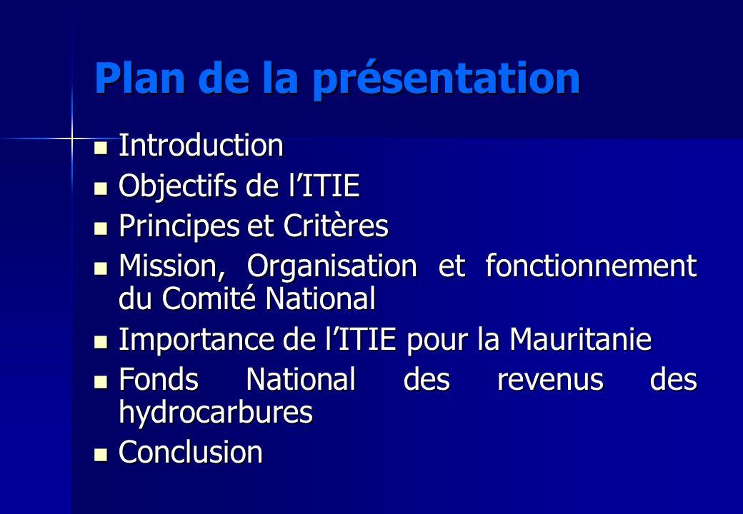 Plan de la présentation Introduction Introduction Objectifs de lITIE Objectifs de lITIE Principes et Critères Principes et Critères Mission, Organisat
