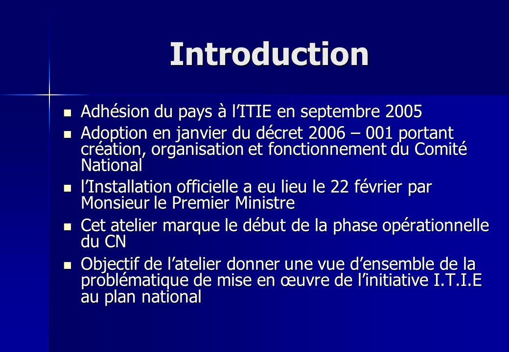 Introduction Adhésion du pays à lITIE en septembre 2005 Adhésion du pays à lITIE en septembre 2005 Adoption en janvier du décret 2006 – 001 portant cr