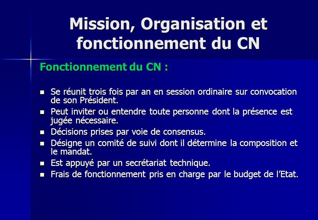 Mission, Organisation et fonctionnement du CN Fonctionnement du CN : Se réunit trois fois par an en session ordinaire sur convocation de son Président