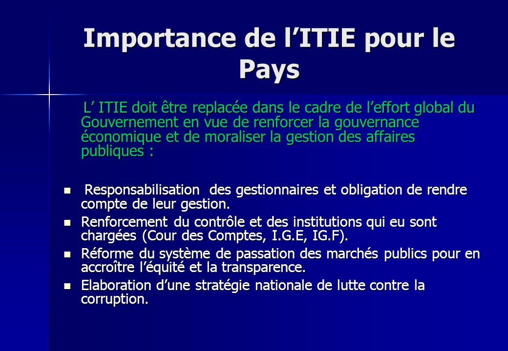 Importance de lITIE pour le Pays L ITIE doit être replacée dans le cadre de leffort global du Gouvernement en vue de renforcer la gouvernance économiq