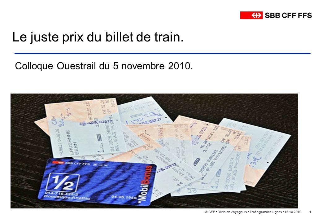 © CFF Division Voyageurs Trafic grandes Lignes 18.10.20101 Le juste prix du billet de train. Colloque Ouestrail du 5 novembre 2010.