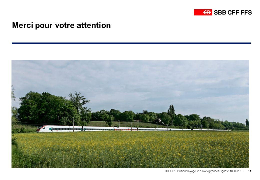 © CFF Division Voyageurs Trafic grandes Lignes 18.10.201011 Merci pour votre attention