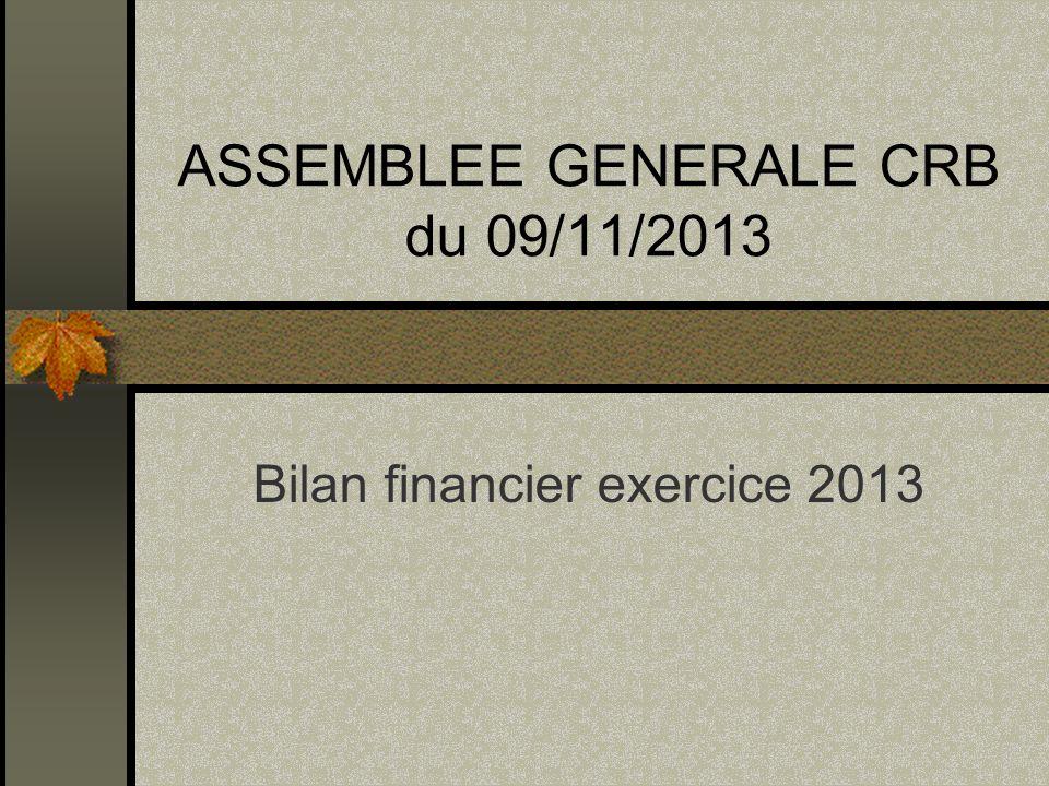ASSEMBLEE GENERALE CRB du 09/11/2013 Bilan financier exercice 2013