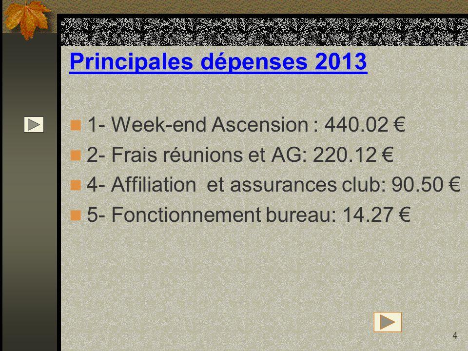 4 Principales dépenses 2013 1- Week-end Ascension : 440.02 2- Frais réunions et AG: 220.12 4- Affiliation et assurances club: 90.50 5- Fonctionnement