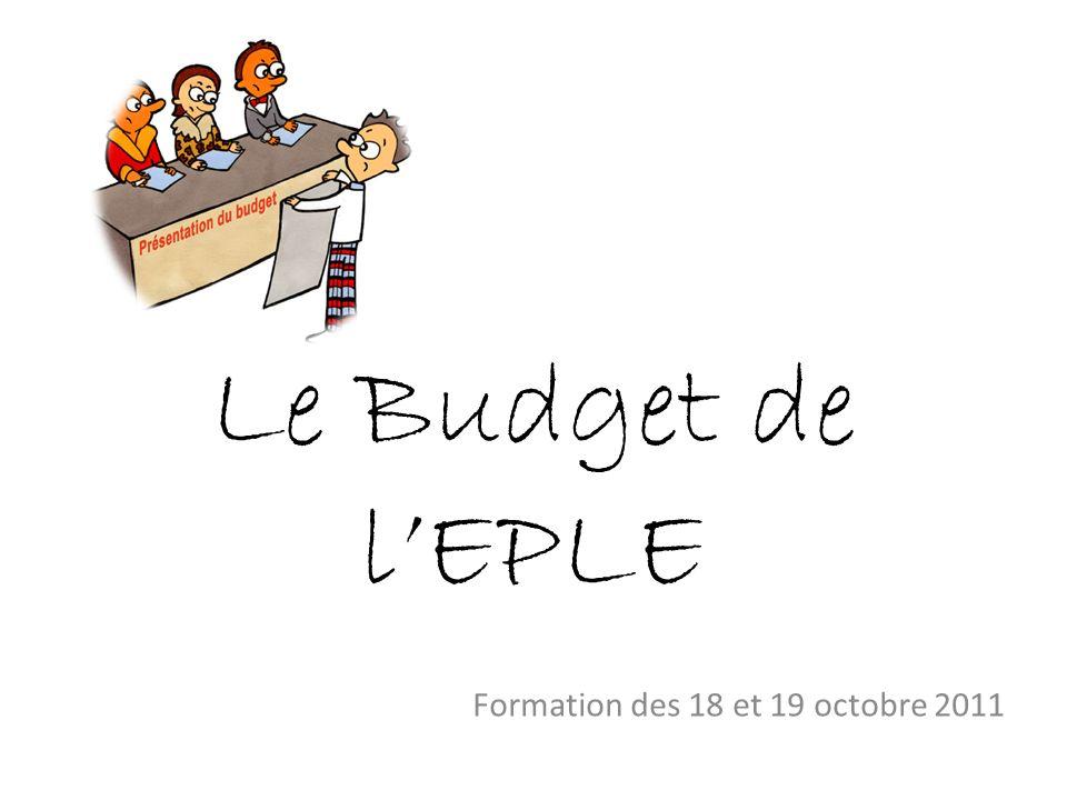 Le Budget de lEPLE Formation des 18 et 19 octobre 2011