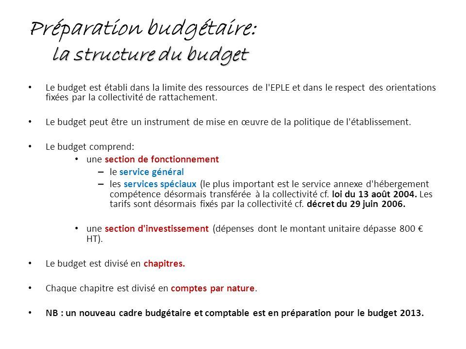 Préparation budgétaire: la structure du budget Le budget est établi dans la limite des ressources de l'EPLE et dans le respect des orientations fixées