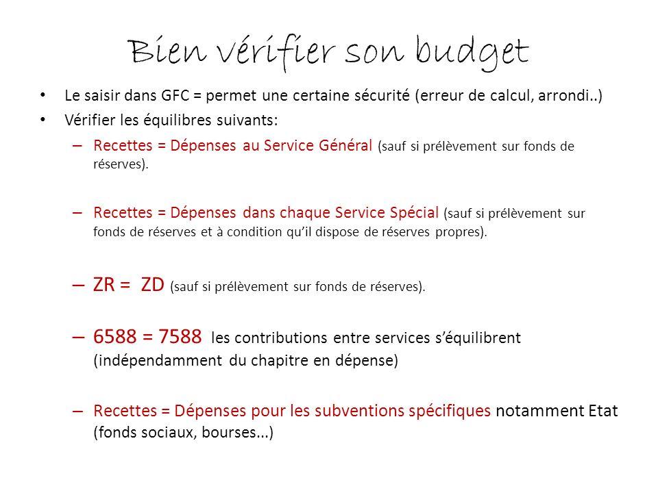 Bien vérifier son budget Le saisir dans GFC = permet une certaine sécurité (erreur de calcul, arrondi..) Vérifier les équilibres suivants: – Recettes