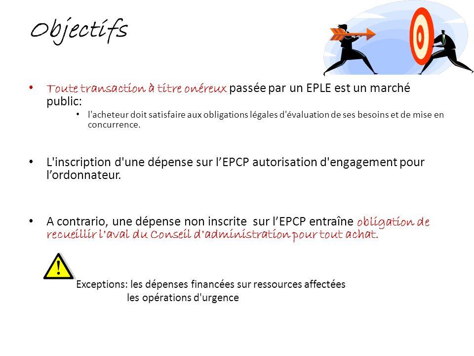 Objectifs Toute transaction à titre onéreux p assée par un EPLE est un marché public: l'acheteur doit satisfaire aux obligations légales d'évaluation