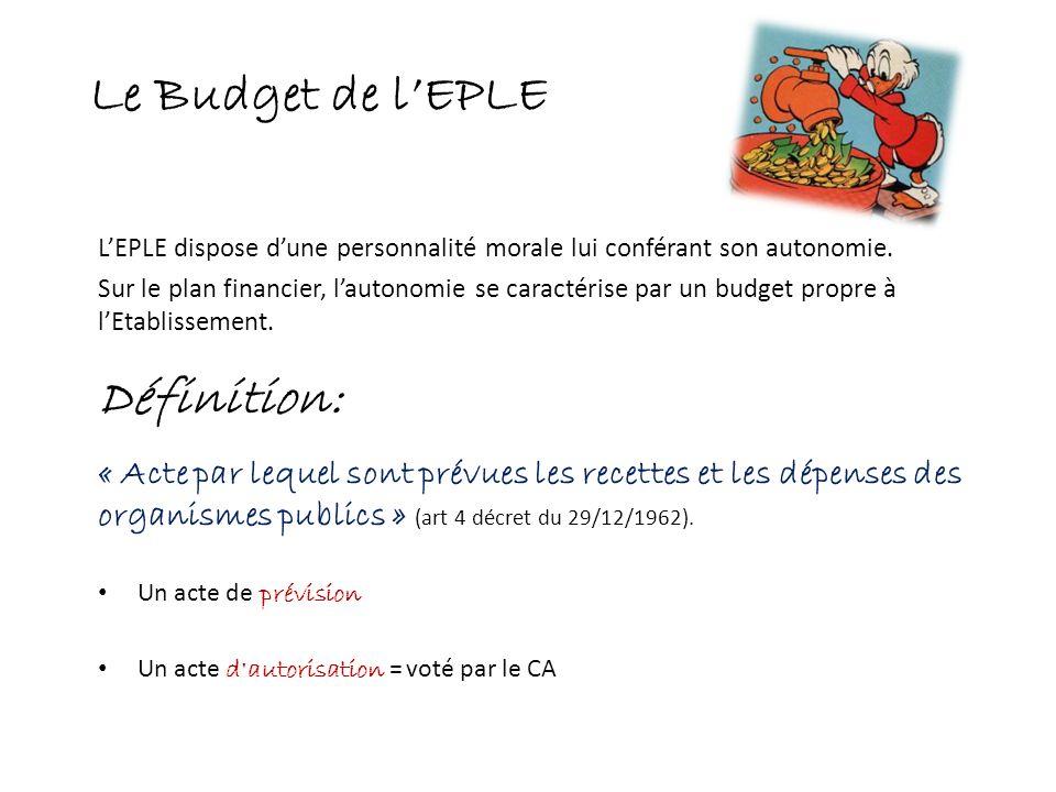 Le Budget de lEPLE LEPLE dispose dune personnalité morale lui conférant son autonomie. Sur le plan financier, lautonomie se caractérise par un budget