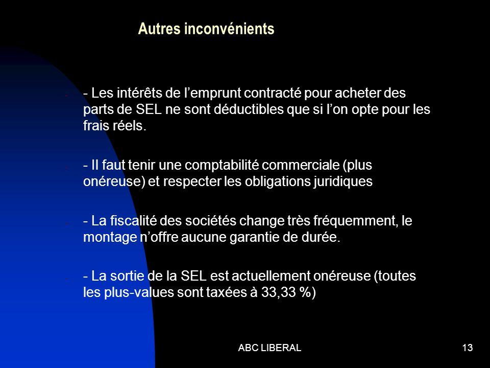 ABC LIBERAL13 Autres inconvénients - - Les intérêts de lemprunt contracté pour acheter des parts de SEL ne sont déductibles que si lon opte pour les f