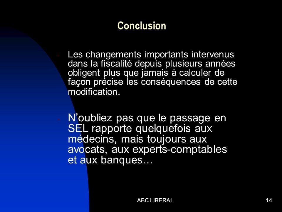 ABC LIBERAL14 Conclusion - Les changements importants intervenus dans la fiscalité depuis plusieurs années obligent plus que jamais à calculer de façon précise les conséquences de cette modification.