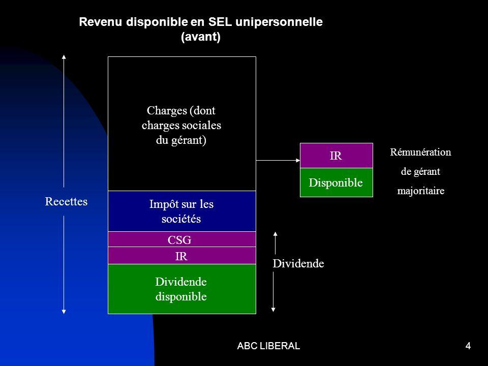 ABC LIBERAL4 Charges (dont charges sociales du gérant) Impôt sur les sociétés CSG IR Dividende disponible Recettes Dividende IR Disponible Rémunératio