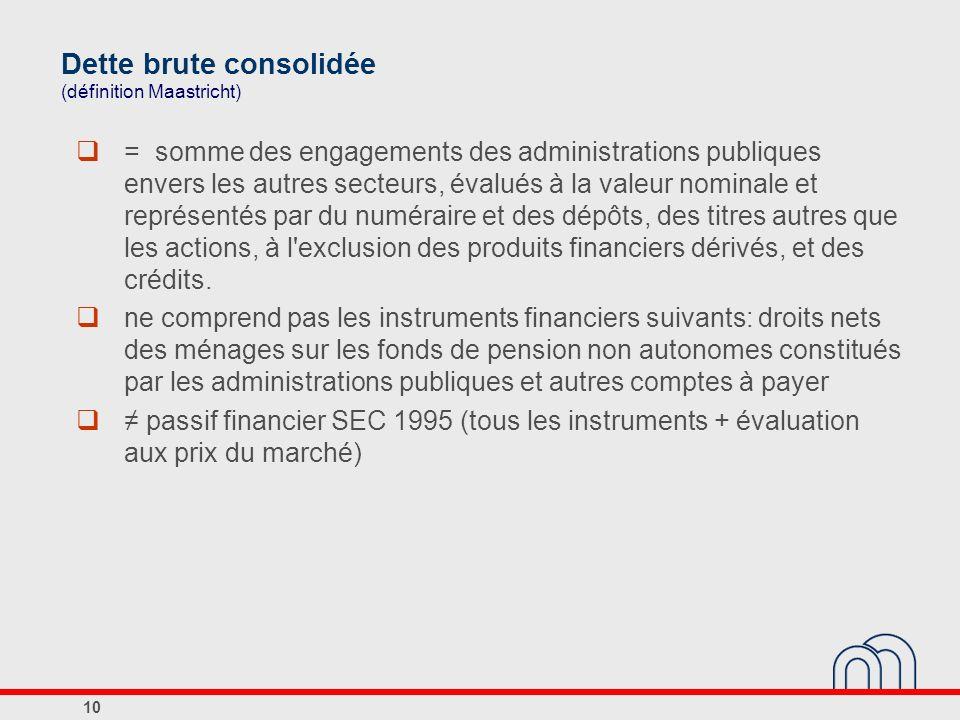 Dette brute consolidée (définition Maastricht) = somme des engagements des administrations publiques envers les autres secteurs, évalués à la valeur n