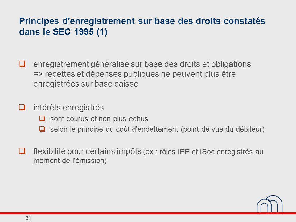 Principes d'enregistrement sur base des droits constatés dans le SEC 1995 (1) enregistrement généralisé sur base des droits et obligations => recettes