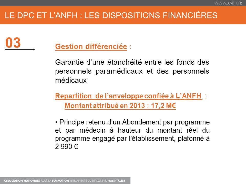 LE DPC ET LANFH : LES DISPOSITIONS FINANCIÈRES 03 Gestion différenciée : Garantie dune étanchéité entre les fonds des personnels paramédicaux et des p