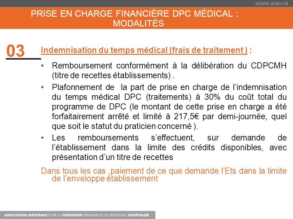PRISE EN CHARGE FINANCIÈRE DPC MÉDICAL : MODALITÉS 03 Indemnisation du temps médical (frais de traitement ) : Remboursement conformément à la délibéra