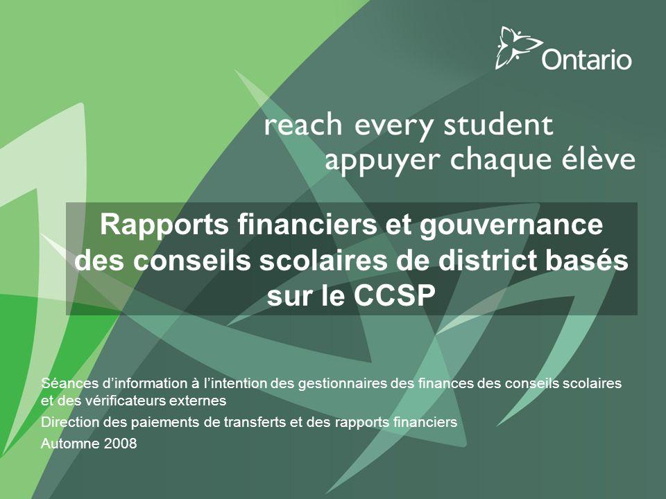 2007-08 Grants for Student Needs 12 Définitions du financement : encaisse v.