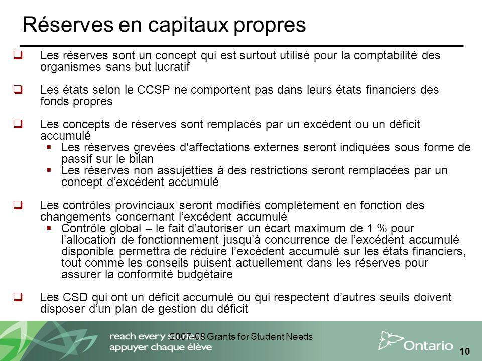2007-08 Grants for Student Needs 10 Réserves en capitaux propres Les réserves sont un concept qui est surtout utilisé pour la comptabilité des organis