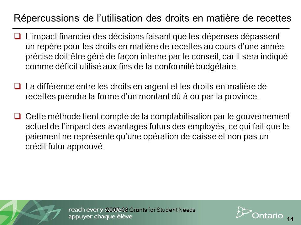 2007-08 Grants for Student Needs 14 Répercussions de lutilisation des droits en matière de recettes Limpact financier des décisions faisant que les dé